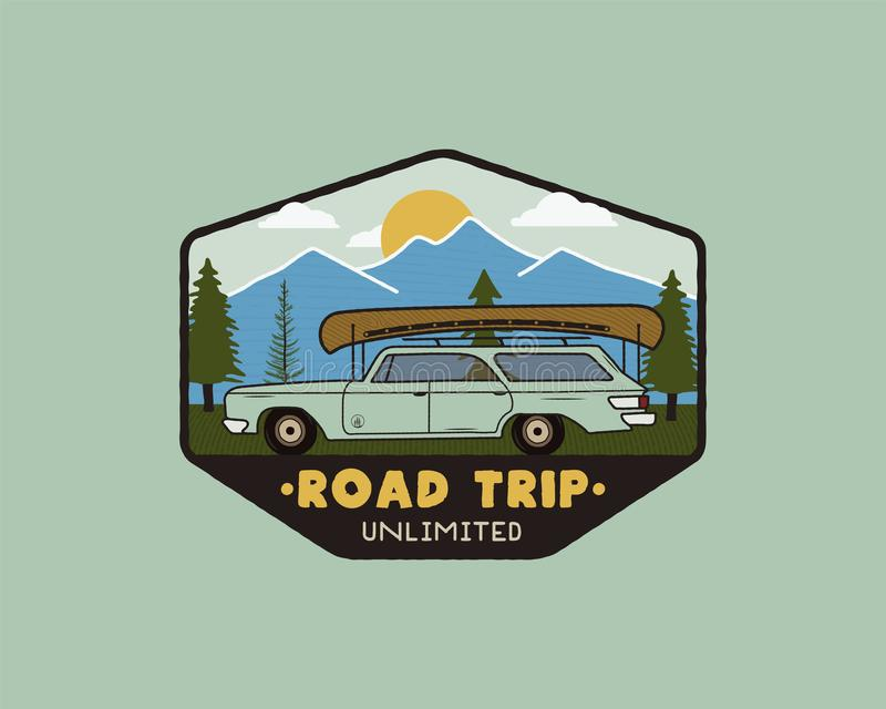 Vintage hand drawn road trip logo patch with carriding through the mountains landscape and quote - Road trip unlimited vector illustration
