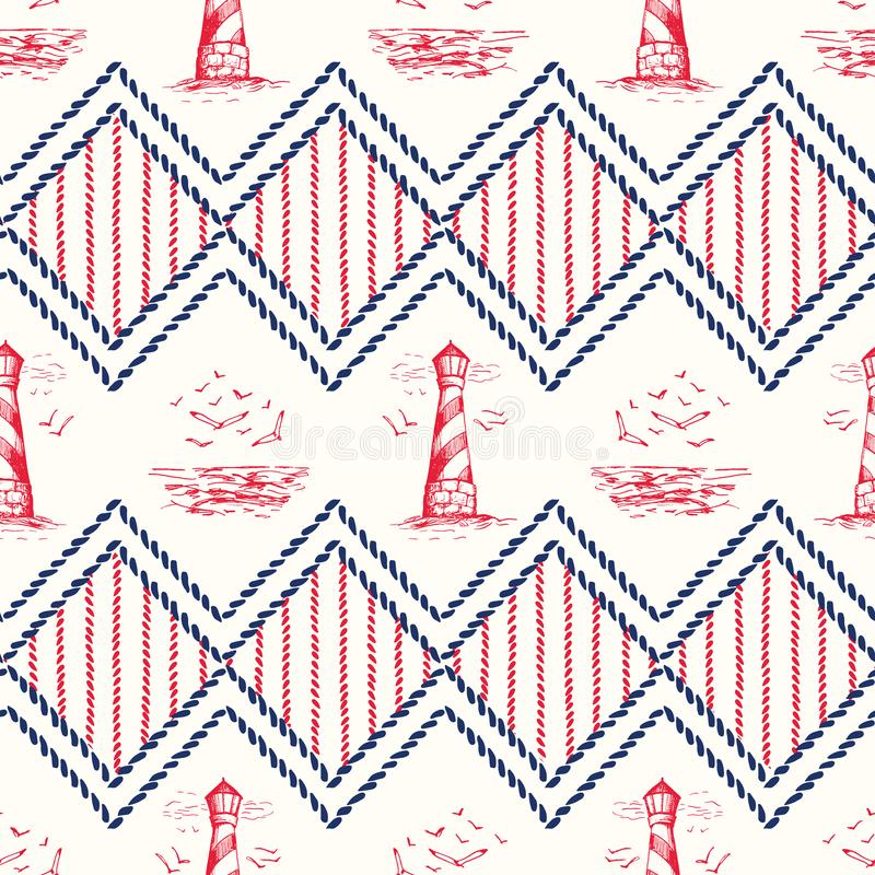 Vintage Hand-Drawn Rope Chevrons with Lighthouse, Seagulls Scenery and Nautical Knots Vector Seamless Pattern vector illustration