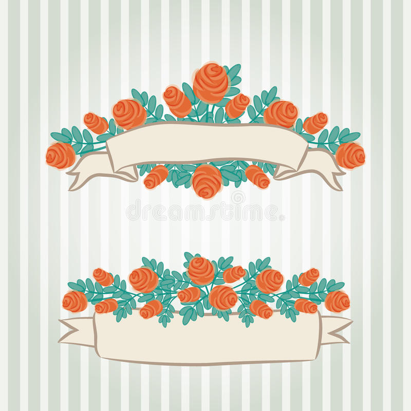 Vintage hand-drawn roses' banners royalty free stock photo