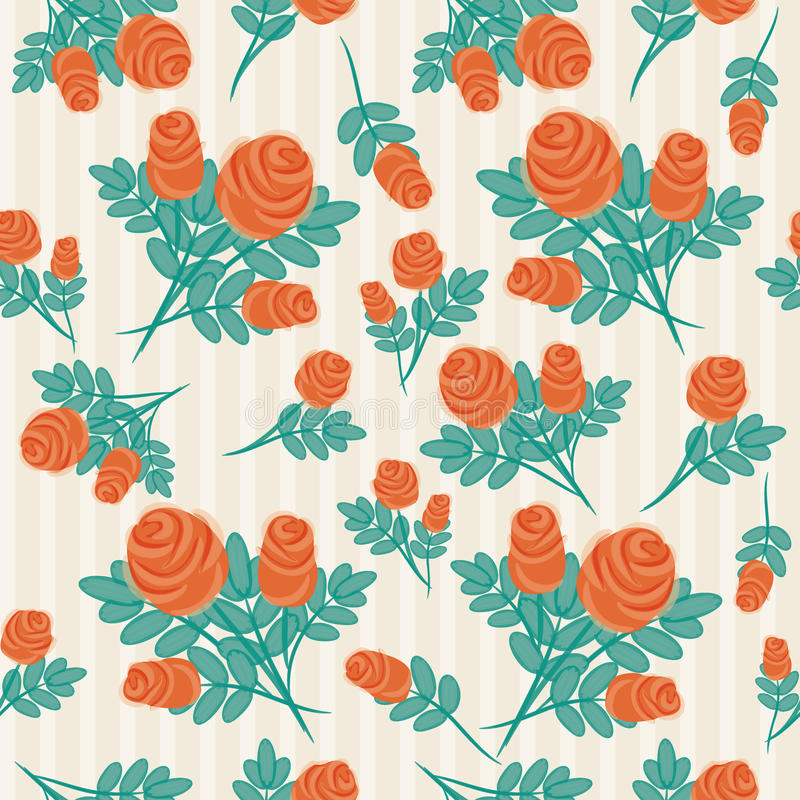 Vintage hand-drawn roses' pattern stock image