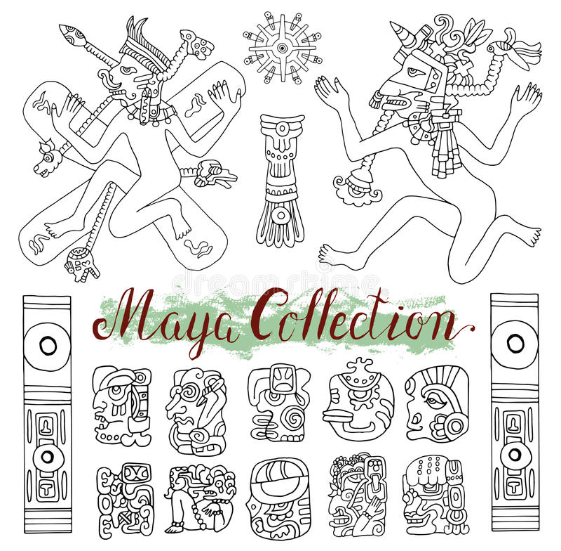 Vintage Hand Drawn Set With Tribal Maya Symbols People And Ethnic