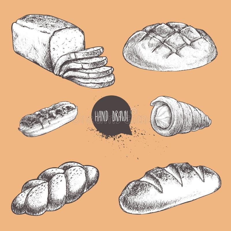 Vintage hand drawn sketch fresh style bakery set. Bread, cream roll tube. Eclair, bun, loaf, sliced bread vector illustration