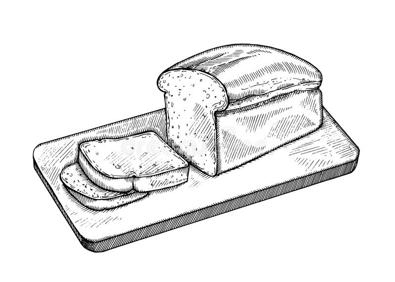 Vintage hand drawn sketch fresh vintage style bakery set. Bread with slices on white background. royalty free illustration