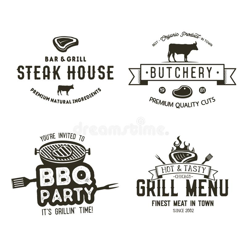 Vintage hand drawn steak house logo set, bbq party, barbecue grill badges, labels. Retro typography style. Butcher logo royalty free illustration