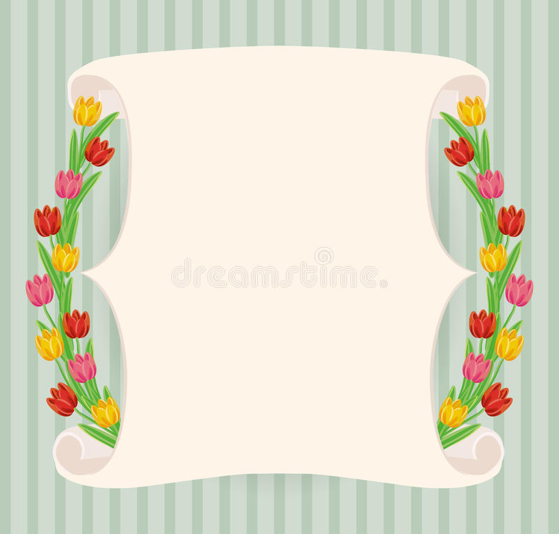 Vintage hand-drawn tulips' banner royalty free stock photo