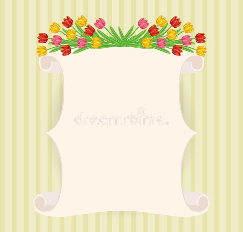 Vintage hand-drawn tulips' banner stock photo