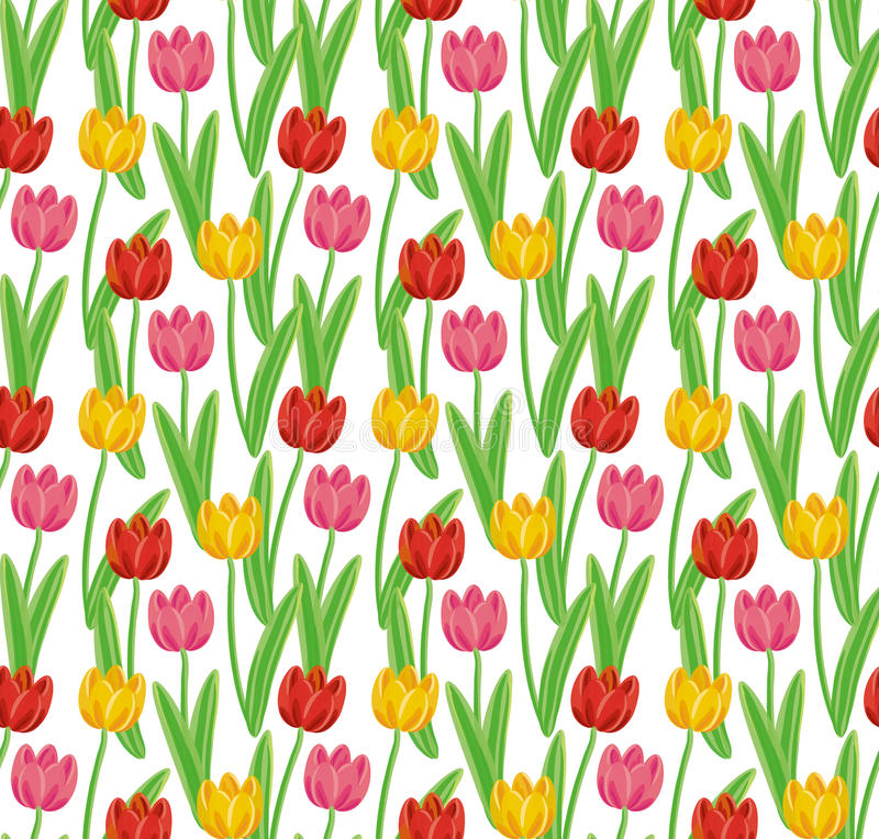 Vintage hand-drawn tulips' pattern stock photo