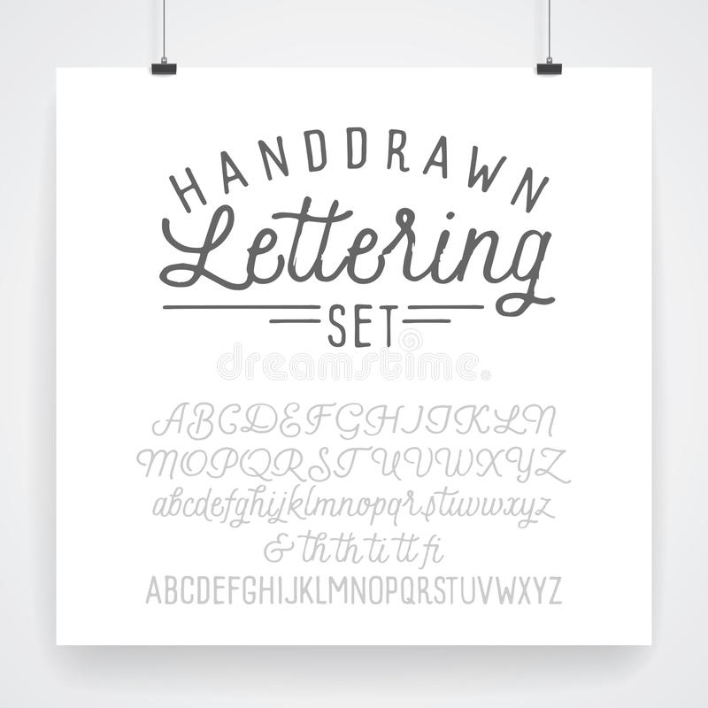 hand lettering fonts 2 vintage type lettering set stock vector 1273