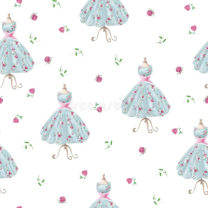 Vintage hand drawn watercolor flower dress seamless pattern vector illustration