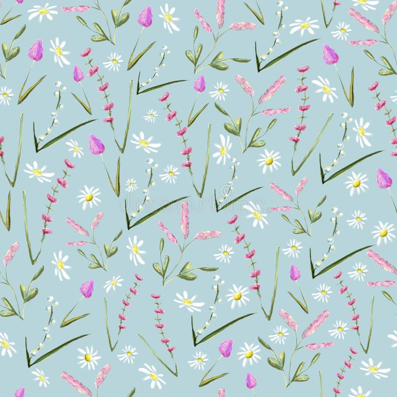 Vintage hand drawn watercolor flower seamless pattern. For prints and other purposes royalty free illustration