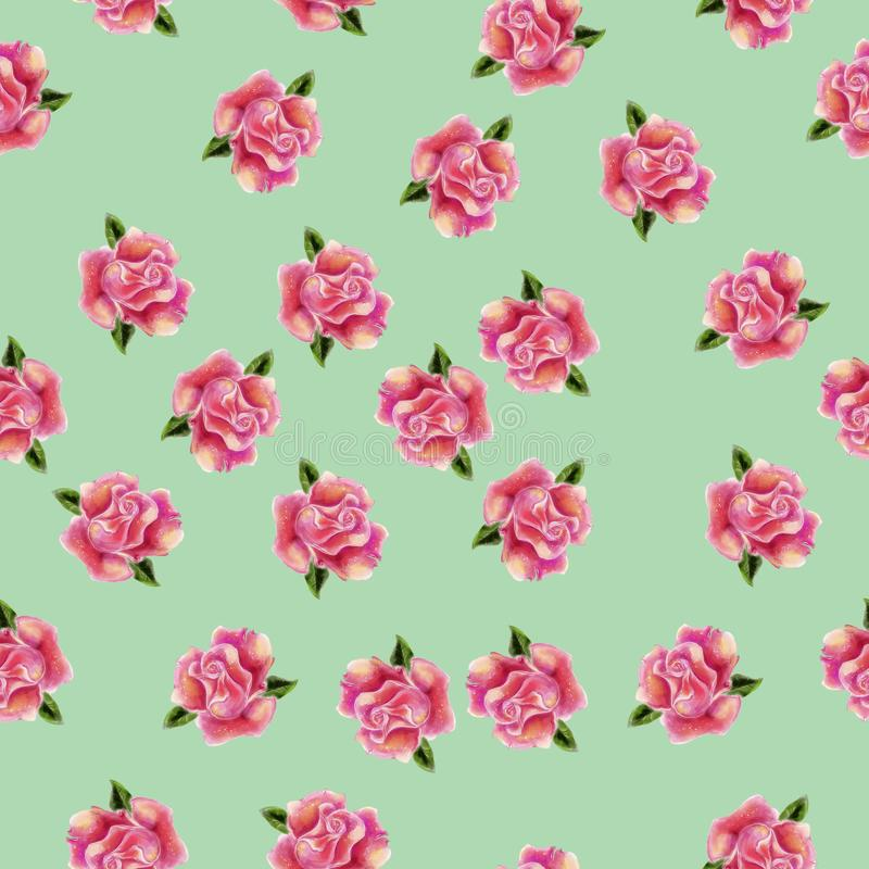 Vintage hand drawn watercolor rose flower seamless pattern vector illustration