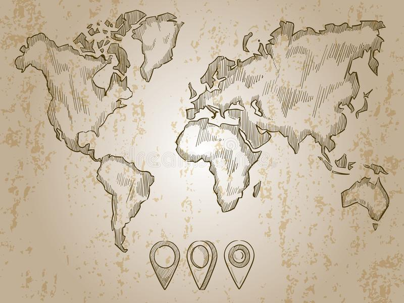 Vintage Hand Drawn World Map And Doodle Pins Stock Vector - Wall map travel pins