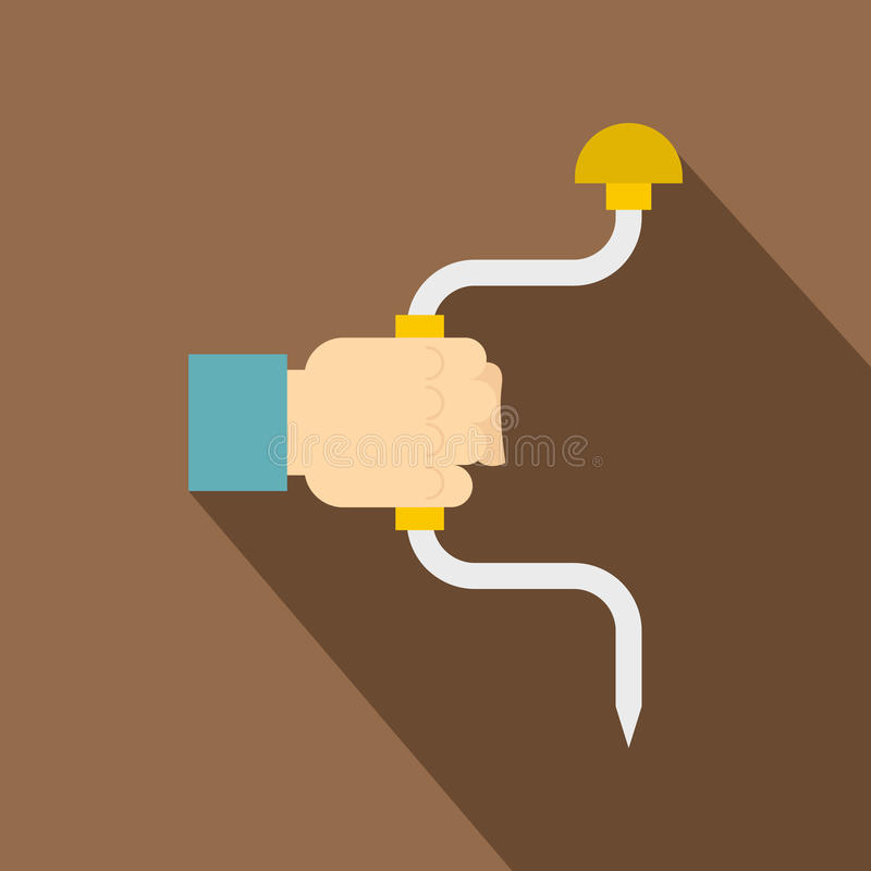 Vintage hand drill in man hand icon, flat style stock illustration