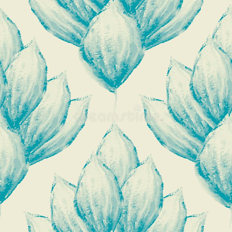 Vintage hand painted blue watercolour petals in damask style design. Seamless vector pattern on cream background. Great. For fabric, wellness, beauty, wedding vector illustration