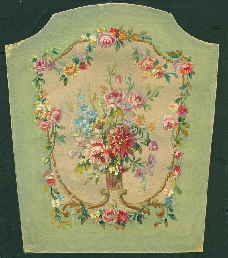 Vintage hand painted rose floral cartouche Victorian stock images