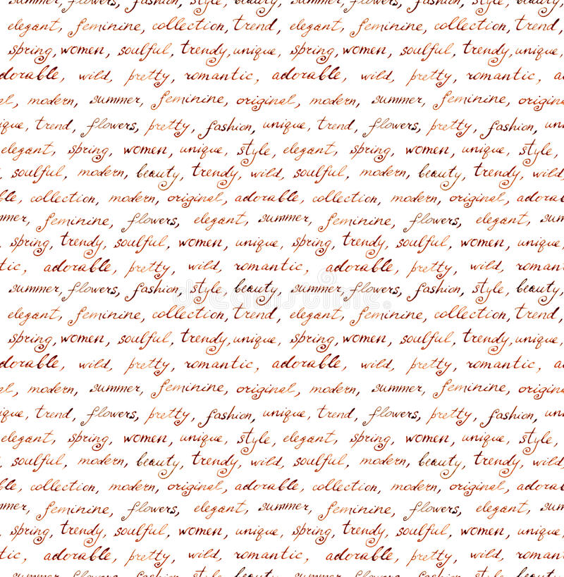 Vintage hand written letter - seamless text. Repeating pattern, handwritten background stock illustration