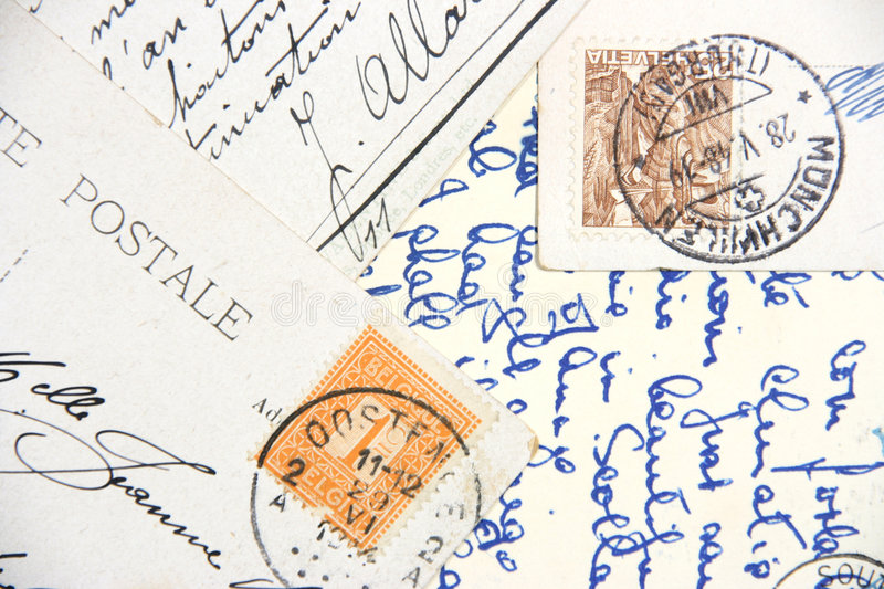 Vintage hand-written post cards stock photography