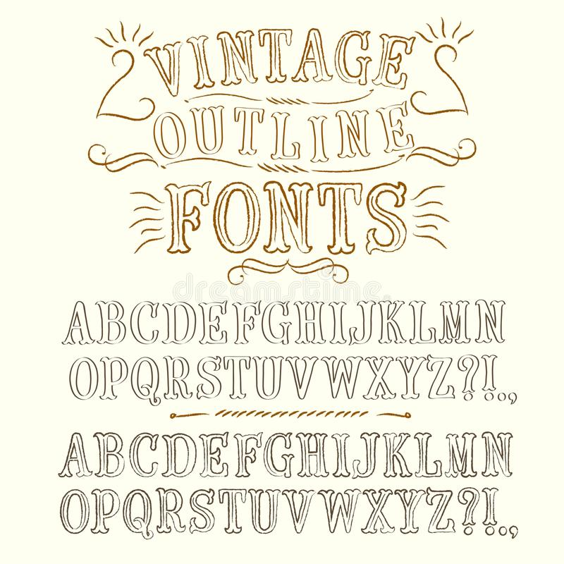 Vintage Hand Written Fonts Set Stock Illustration