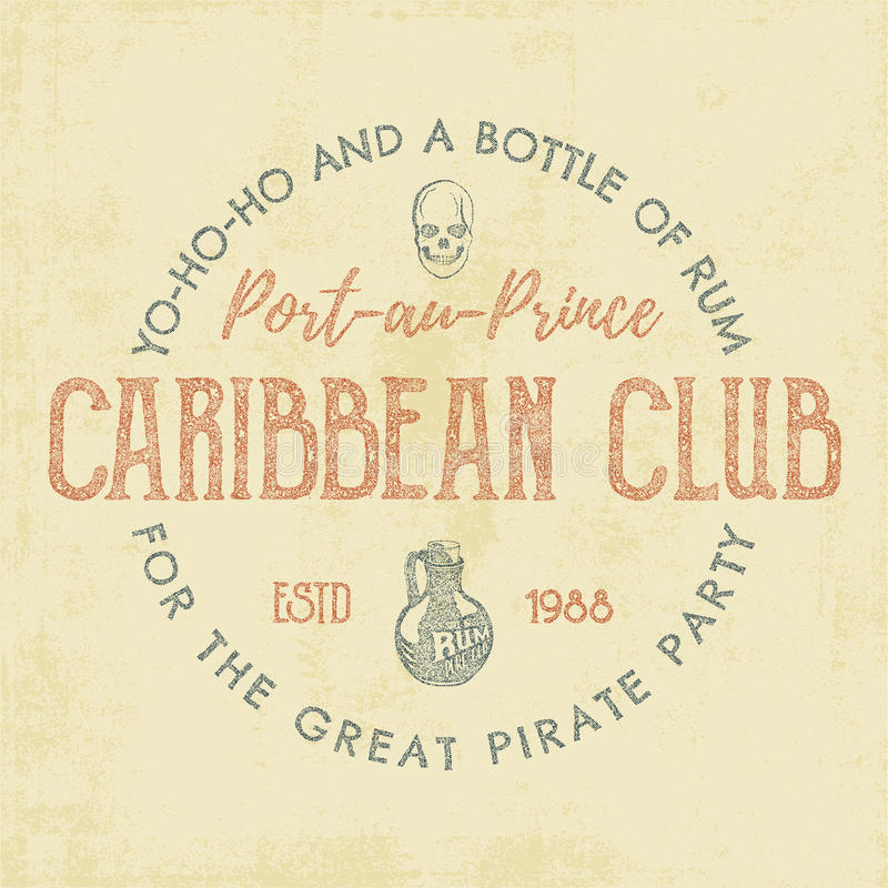 Vintage handcrafted label, emblem. Caribbean club logo template. Sketching filled style. Pirate and sea symbols - old. Rum bottle, pirate skull. Retro stamp and stock illustration