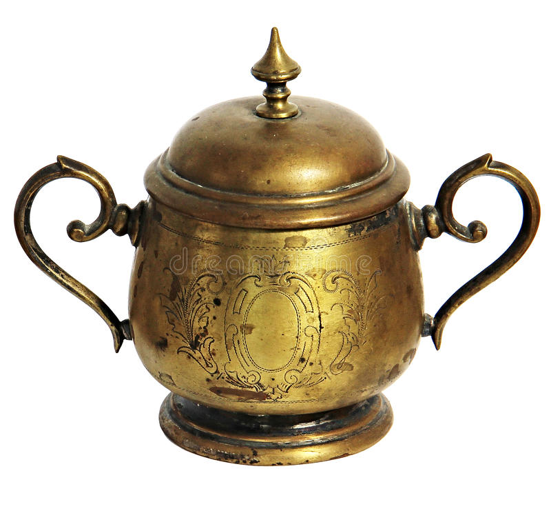 Vintage handmade sugar bowl of copperor Bronze with european ornaments isolated over white stock images