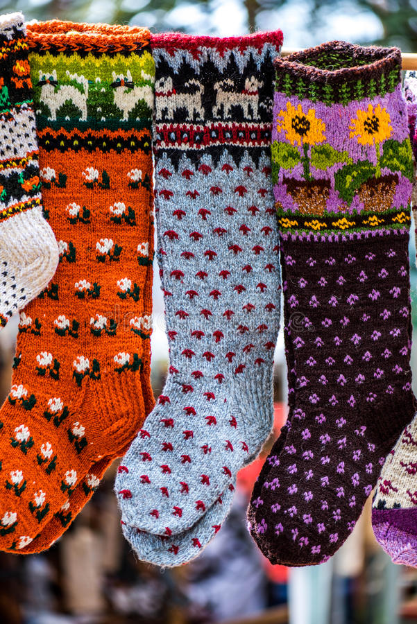 Vintage handmade wool socks with a pattern, ornament royalty free stock images