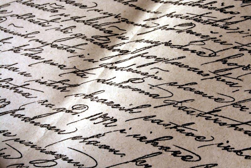 Vintage handwriting stock image