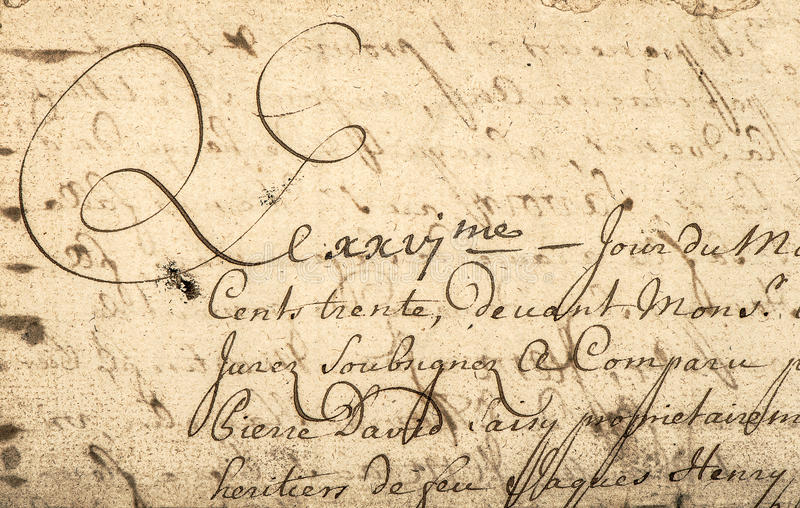 Vintage handwriting with latin text. Grunge paper background royalty free stock photography
