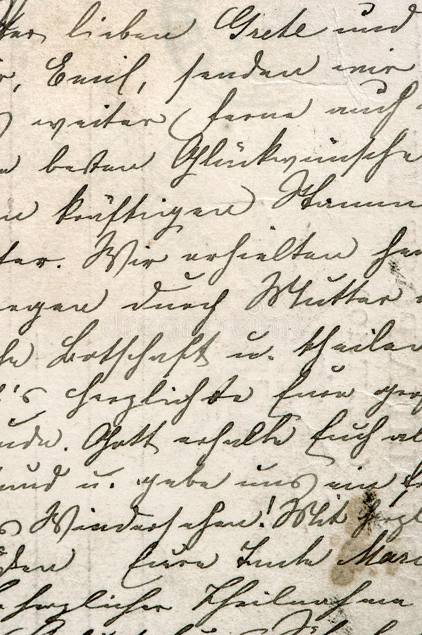 Vintage handwriting with a text in undefined language royalty free stock image