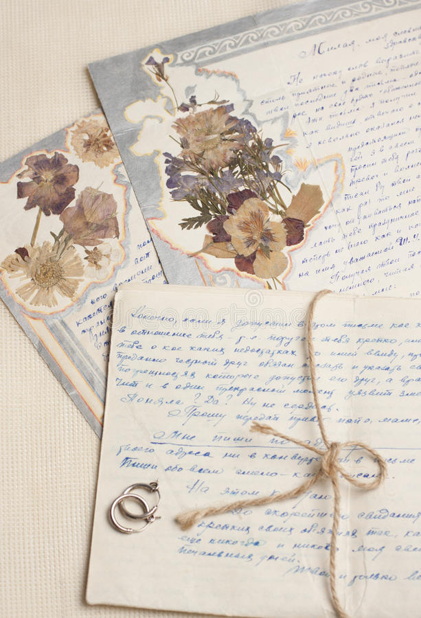 Vintage handwritten letters with herbarium royalty free stock images