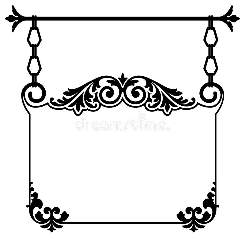 Vintage Hanging Sign. Black and white vintage wrought iron sign hanging from an ornate floral rod for an old town downtown shop with copy space and scroll work vector illustration