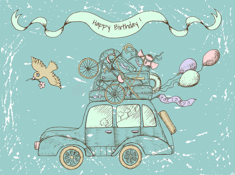 Download Vintage Happy Birthday Card With Old Car Stock Vector