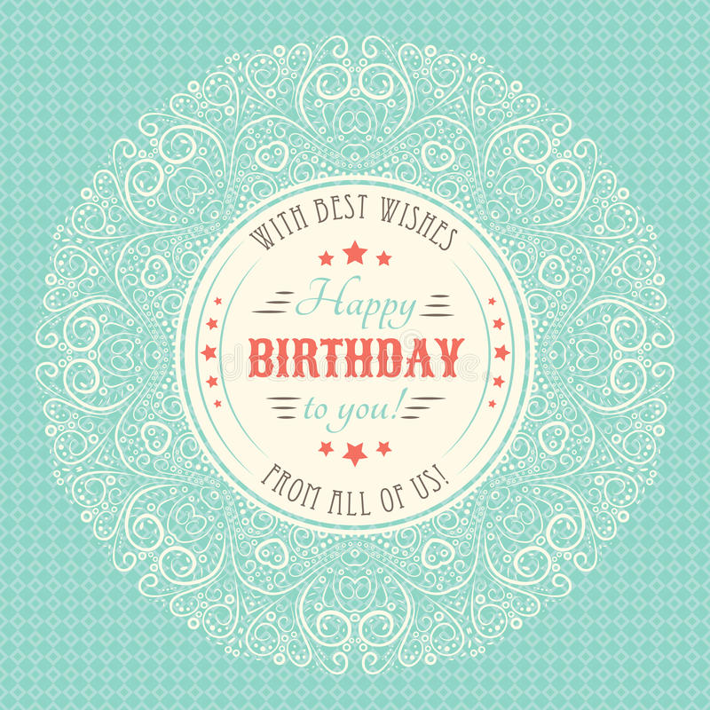 Download Vintage Happy Birthday Card Typography Letters Stock Vector