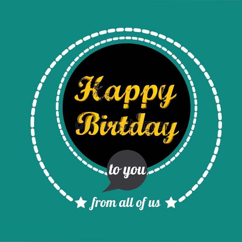Vintage Happy Birthday Card Vector Illustration Stock Vector