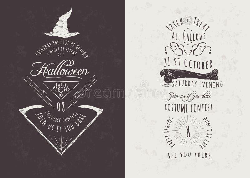 Vintage Happy Halloween Party Invitations. Vintage Hand Drawn Happy Halloween Party Invitations. Vector Illustrations vector illustration