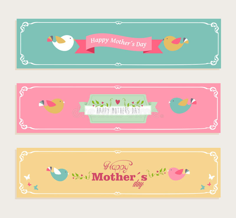 Free Vintage Happy Mothers Day Banners Set Stock Image - 39262891