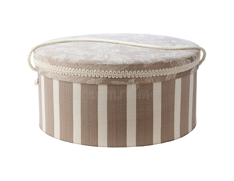 Vintage Hatbox. Isolated on white with a clipping path. Isolation is on a transparent layer in the PNG format royalty free stock images