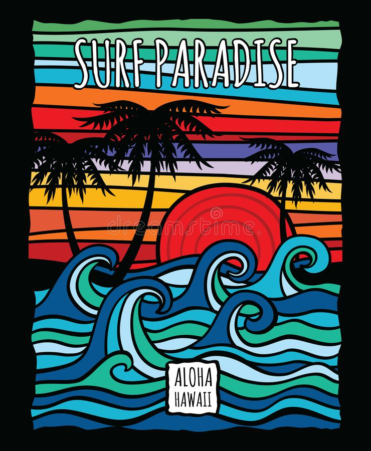 Vintage hawaii aloha surf graphic with ocean waves and palm trees vector t-shirt design. Surf ocean wave and palm, tree in color vintage style illustration vector illustration