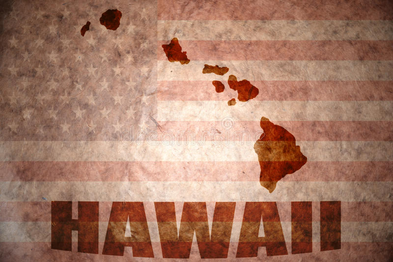 Vintage hawaii map. Hawaii map on a vintage american flag background royalty free stock image