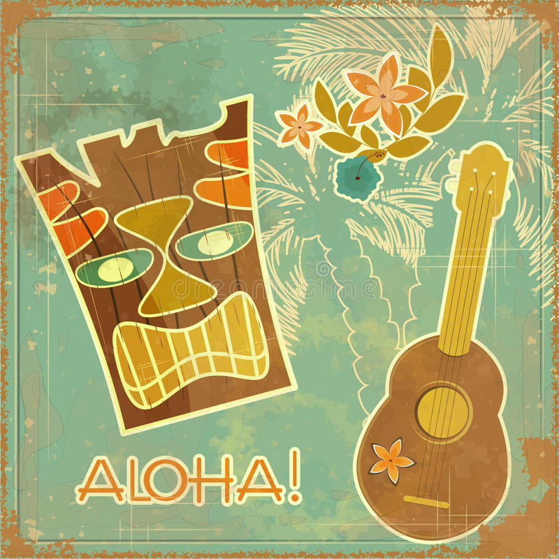 Vintage Hawaiian card royalty free illustration