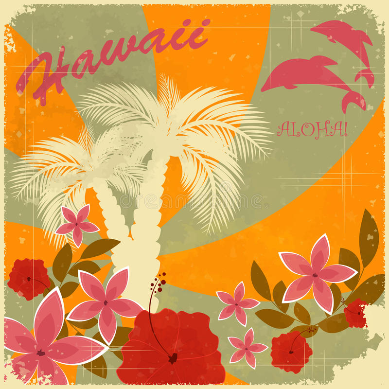 Vintage Hawaiian postcard vector illustration