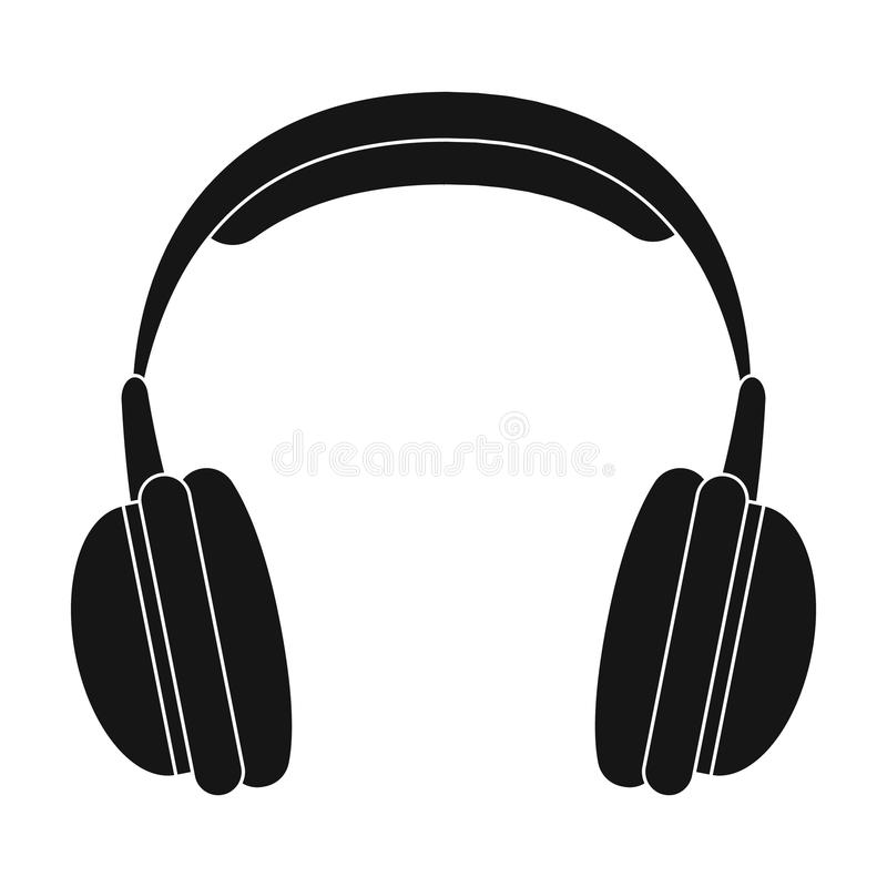 Vintage headphones icon in black style isolated on white background. Hipster style symbol stock vector illustration. Vintage headphones icon in black design royalty free illustration