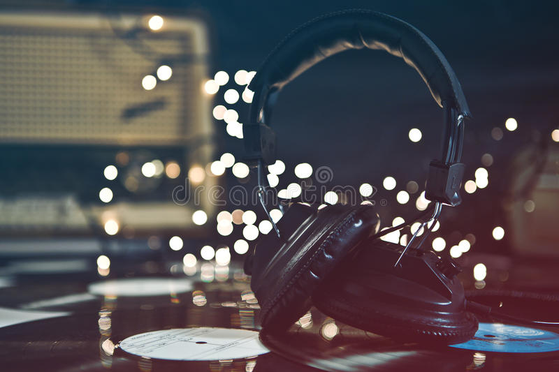 Vintage Headphones & Records royalty free stock images