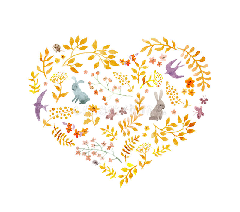 Vintage heart - autumn leaves, rabbits, birds. Watercolor stock illustration