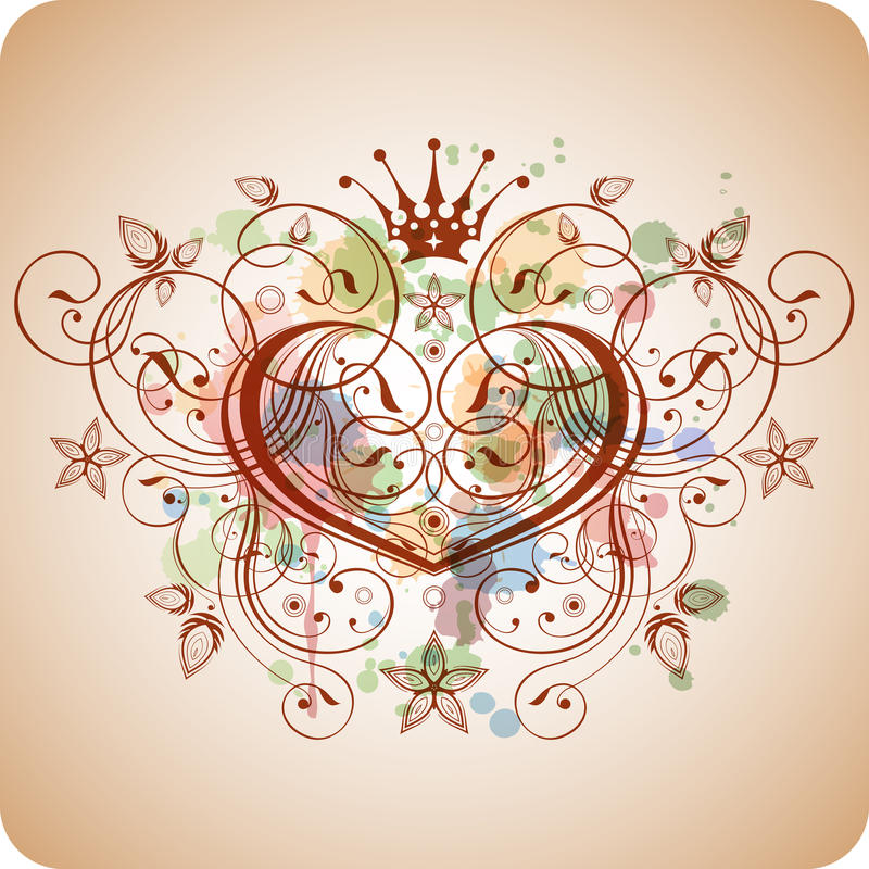 Vintage heart floral calligraphy ornament stock vector