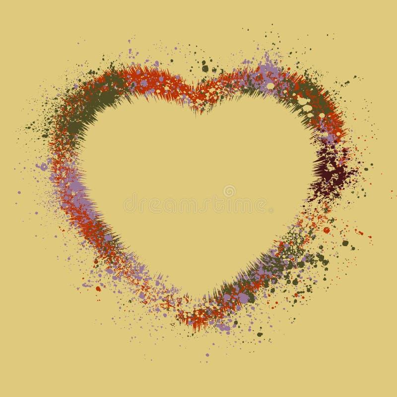 Vintage heart shaped color inks. EPS 8 stock illustration