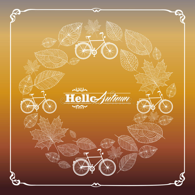 Vintage hello autumn text leaves and bikes backgro stock illustration