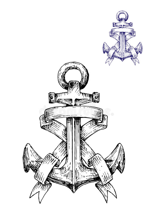Vintage heraldic sketched anchor with ribbons stock illustration