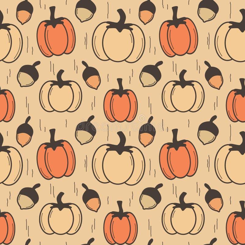 Vintage Herbst Herbst nahtlose Vektor-Muster-Hintergrundbild mit Kürbis und Eicheln stock abbildung