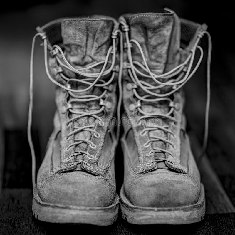Vintage Hiking boots. Shoes for life royalty free stock photography