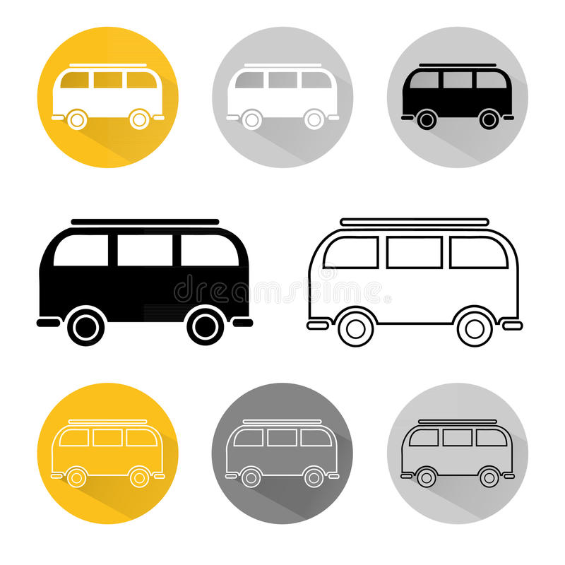 Vintage hippie van. Icons of vintage hippie van isolated on white background. Colorful and contour. Logo vector illustration hippie camper bus vector illustration